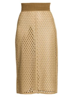 Leather Mesh Pencil Skirt