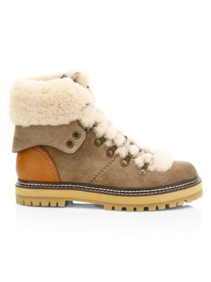 Eileen Shearling-Lined Suede Hiking Boots