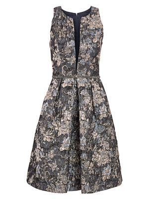 Brocade Fit-&-Flare Dress