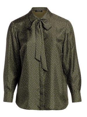 Diana Mini Modernist Circle-Print Silk Blouse