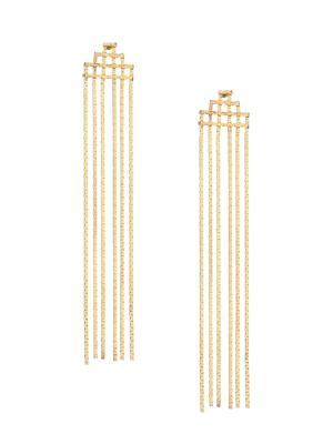 Disco Fringe 14K Yellow Goldplated Statement Earrings