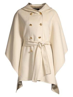 Madisona Hooded Wool & Cashmere Cape Coat