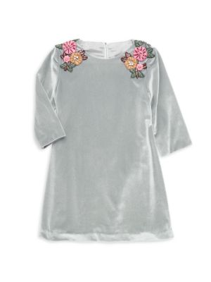 Little Girl's Embellished Shoulder Appliqué Velvet Dress