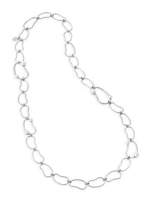 5-8MM Organic Man-Made Pearl & Silvertone Link Long Necklace