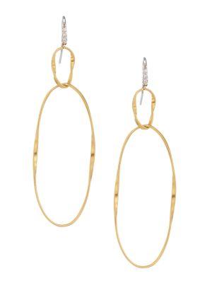 Marrakech Onde 18K Yellow Gold & Diamond Large Coil Double-Drop Hoop Earrings
