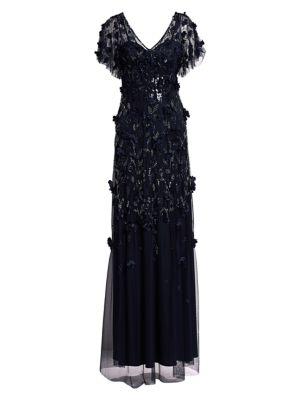 Flutter Sleeve Floral Appliqué Gown