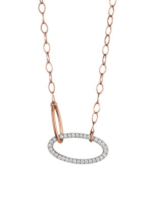18K Rose Gold & White Diamond Ellipse Fusion Link Pendant Necklace