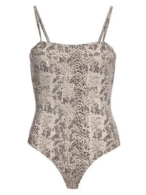 Snakeskin-Print Pima Cotton Bodysuit