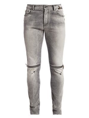Zipped & Distressed Skinny Jeans