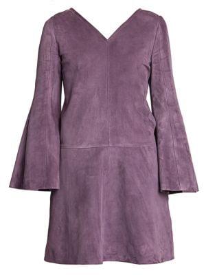 V-Neck Suede Mini Dress