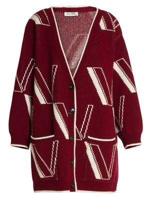 Large V Intarsia Cashmere & Wool Knit Cardigan