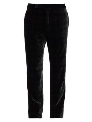 Printed Plaid Velvet Trousers