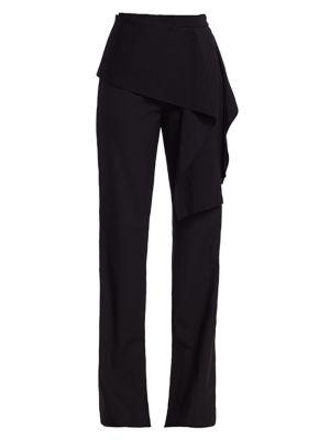 Side Tie Stretch-Wool Pants