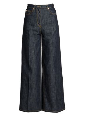 High-Rise Chambray Wide-Leg Jeans