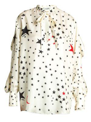 Cosmo-Print Silk Twill Blouse