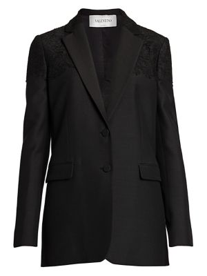 Heavy Crepe Lace-Appliqué Jacket