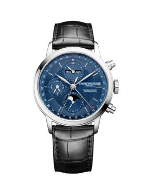 Classima Stainless Steel & Alligator Strap Complete Calendar Chronograph Watch