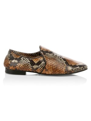 Revy Snake-Embossed Leather Loafers