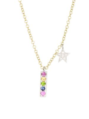 14K Two-Tone Gold & Gemstone Rainbow Bar Pendant Necklace
