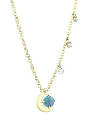 14K Yellow Gold, Diamond & Opal Moon Necklace