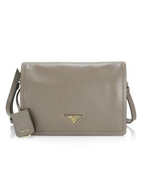 Large Glace Leather Messenger Bag