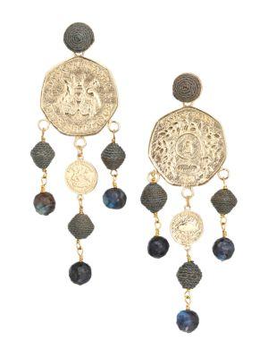 10K Goldplated Coin & Raffia Drop Earrings