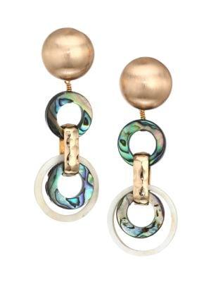 10K Goldplated Abalone & Horn Circular Drop Earrings
