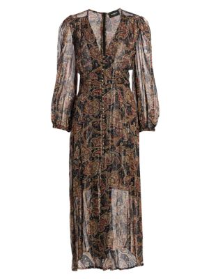 Paisley Metallic Silk Midi Dress