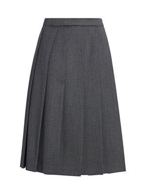 Wool Box Pleated Midi Skirt