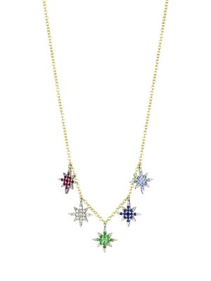 14K Yellow Gold & Multi-Stone Ranbow Star Necklace