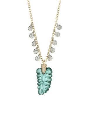 14K Yellow Gold, Quartz & Diamond Leaf Pendant Necklace
