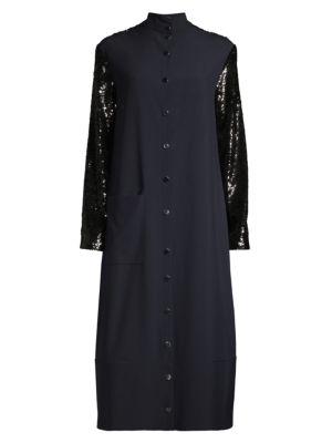 Paneled Sequin Midi Shift Dress