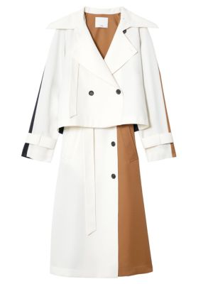 Technical Twill Colorblock Tiered Trench Coat