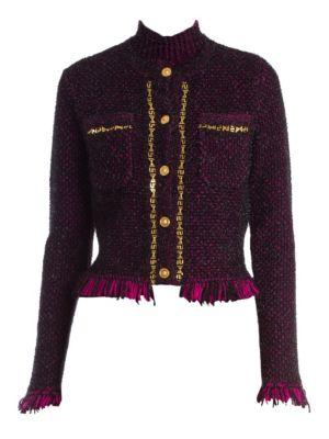 Lurex Tweed Knit Cardigan