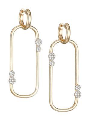 Infinity 14K Yellow Gold & Diamond Long Box-Link Huggie Earrings
