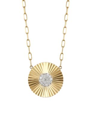 Aura 14K Yellow Gold & Diamond Offset Mini Pendant Necklace
