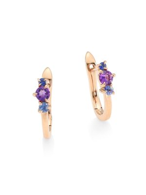 Dusk Enchanted 14K Rose Gold, Amethyst & Sapphire Petite Huggie Earrings