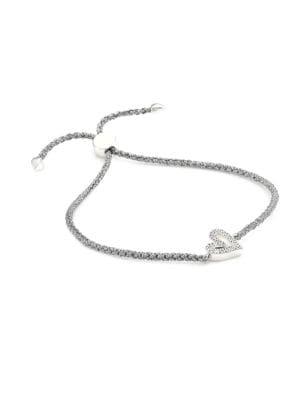 Sterling Silver & Diamond Alphabet Heart Braided Friendship Bracelet