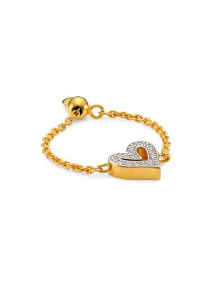 18K Gold Vermeil & Diamond Alphabet Heart Friendship Chain Ring