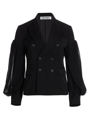 Double Breasted Blouson Sleeve Jacket