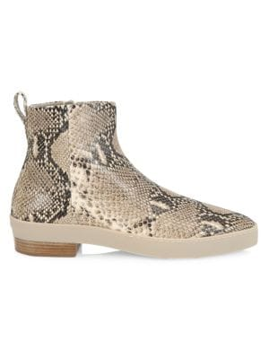 Santa Fe Snakeskin-Embossed Leather Ankle Boots