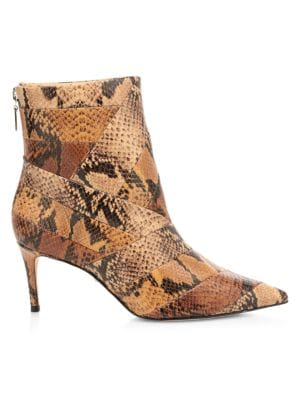 Samaira Snakeskin-Embossed Leather Ankle Boots