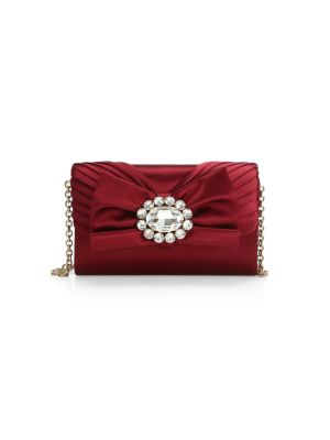 Micro Embellished-Bow Satin Crossbody Bag