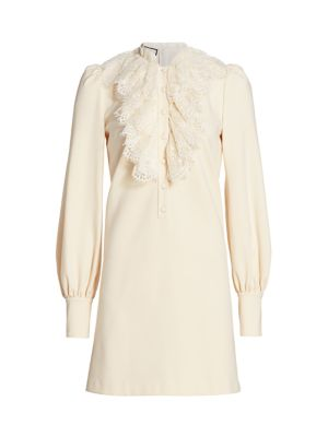 Lace Ruffle Compact Jersey Shirtdress