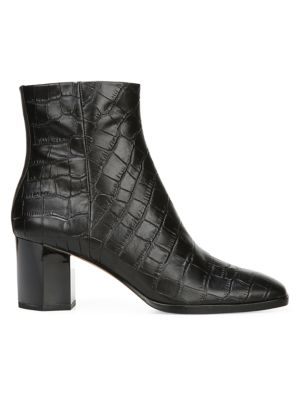Thelma Croc-Embossed Leather Ankle Boots
