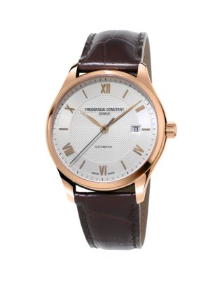Classics Index Automatic Stainless Steel and Leather Strap Watch