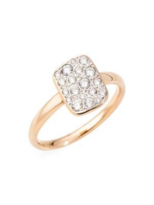 Sabbia 18K Rose Gold & Diamond Rectangular Ring