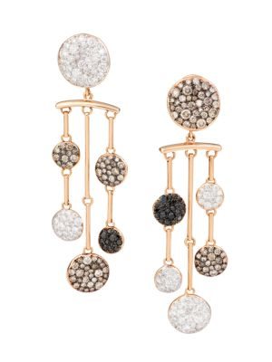 Sabbia 18K Rose Gold & Multicolor Diamond Chandelier Earrings