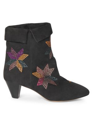 Dyna Embellished Suede Ankle Boots