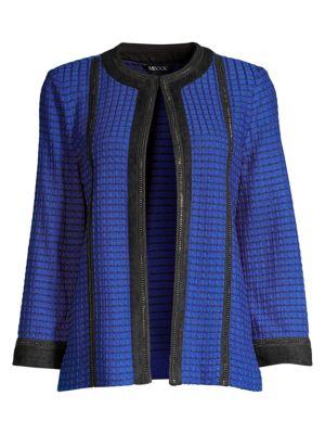 Contrast Trim Checker Knit Jacket